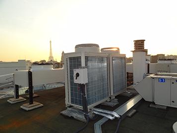 Particolare dell'installazione impianto di condizionamento presso Atelier Armani - Parigi