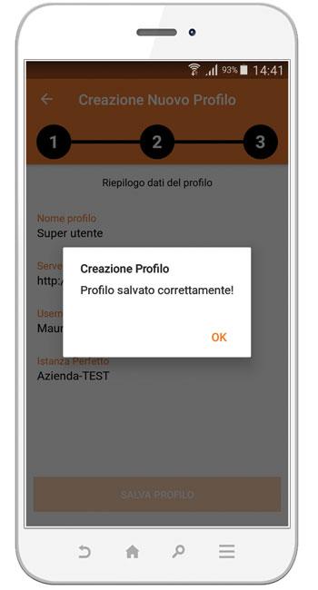 Perfetto app: creazione dei profili dal telefono